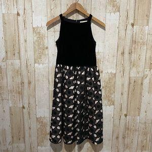 Kate spade black velvet and floral lace dress